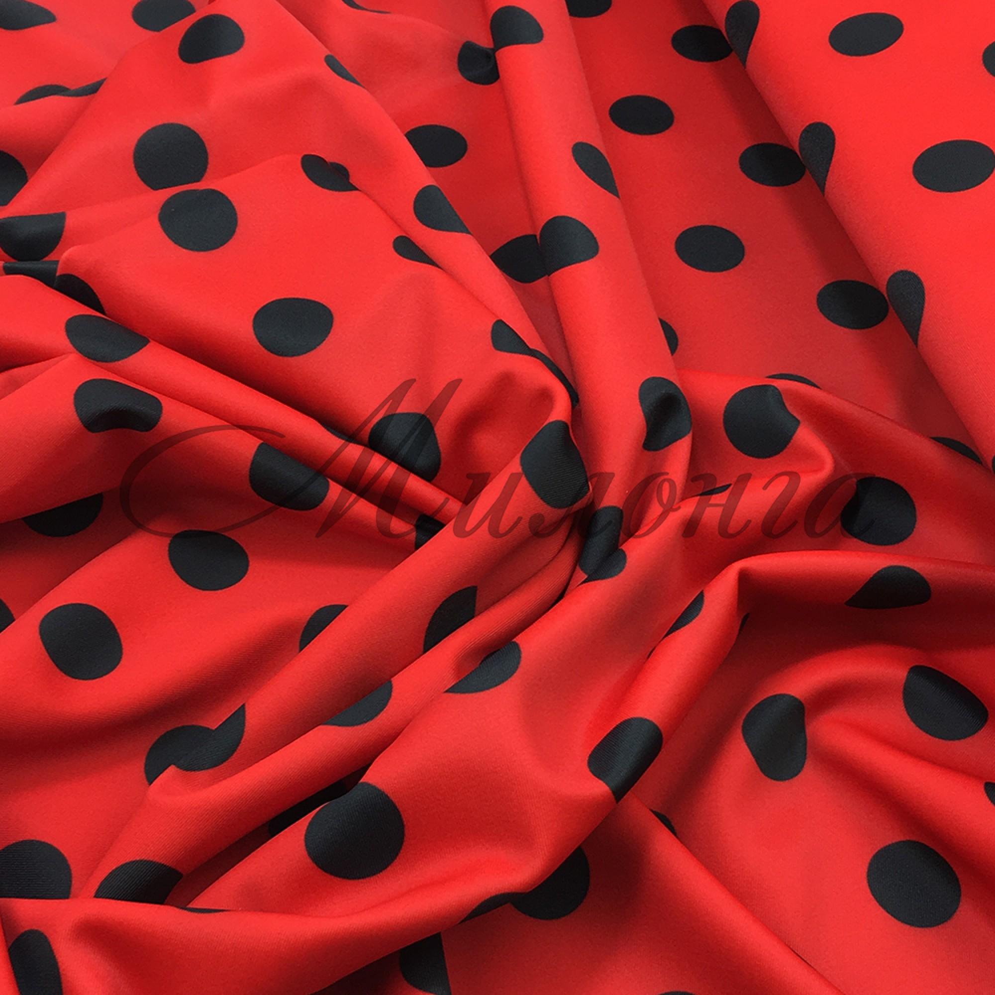 Лайкра принт Италия Горох черно-красный